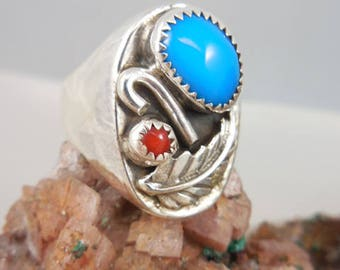 Native American Turquoise Coral Ring