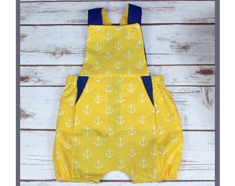 romper, spring romper, shorts, overalls, anchors, yellow chick