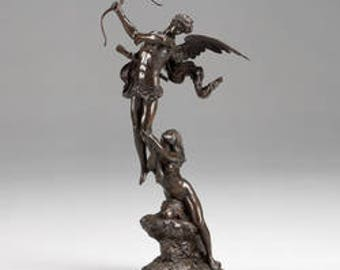 LF42153: SIGNATURE STATUARY Sculpture Statue Angel With Lady Holding Bow