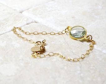 Peridot Green Bracelet, Green Quartz jewelry, Gemstone Jewelry, Gift For Wife, Her Birthday Gift, Green Gem, Gift For Mum, 14K gold filled