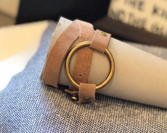 Sandy brown suede/Antique brass ring wrap