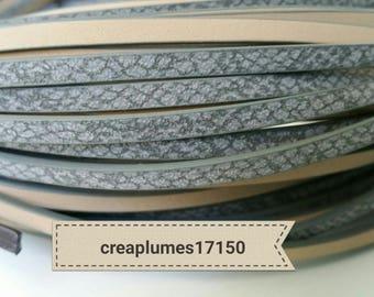 Cordon plat imitation cuir gris argenté  5x2mm
