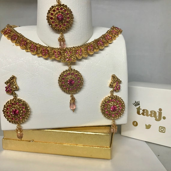 Alsa Gold and pink diamanté Necklace Earring and tikka set