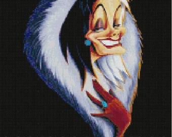 Cruella Head Cross Stitch Pattern-Disney, 101 Dalmatians, Villains