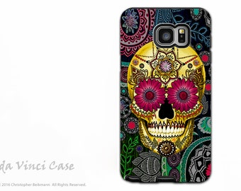 Colorful Paisley Sugar Skull Case for Samsung Galaxy Note 5 Case - Dia De Los Muertos - Day of the Dead Case by Da Vinci Case