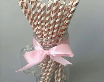 Metallic Rose Gold striped paper drinking straws, rose gold, paper straws, drinking straws, pkt of 25