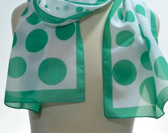 Vintage Square Scarf: Polka dots, emerald green, white, sheer, classic