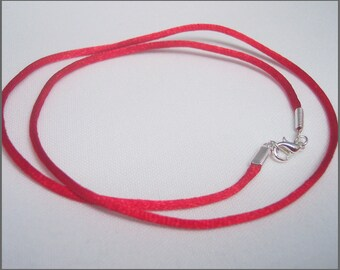 Pendant Cord Necklace RED Satin -YOU CHOOSE Length -silver tone Lobster Clasp