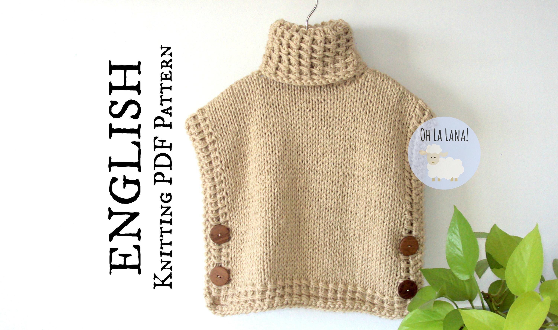 The Bariloche Easy Vest Poncho KNITTING PATTERN, Knit Poncho Pattern ...