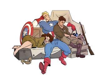 Captain America - Nap Time Postcard