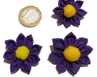 Set 3 Japanese flowers KANZASHI 3 to 3.5 cm Purple Violets and yellow