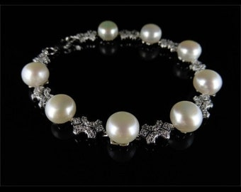 Pearl and Sparkling Paste Stone Silver Bracelet