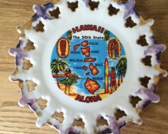 Vintage Kitschy Hawaii Souvenir Plate, Flea Market Decor