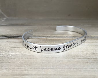 He Must Become Greater I Must Become Less John 3:30 Bible Verse Bracelet Scripture Bracelet Hand Stamped Aluminum Brass Copper