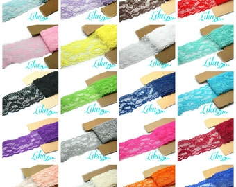 Multi Pack Stretch Lace Elastic - 2 Inch Stretch Lace - Lace for Headbands - Wholesale Headbands - U Pick Colors and Length