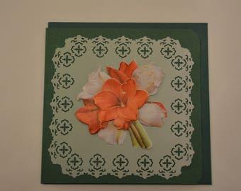 Card Amaryllis flowers in 3 sizes
