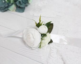 Peony corsage etsy white wrist corsage rose woodland corsage rose wrist corsage bridal cuff braceletpeony mightylinksfo