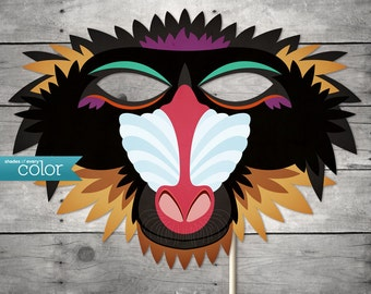 DIY Printable Baboon Monkey Mask - Mardi Gras, Birthdays, Masquerade Ball, Weddings, or Halloween