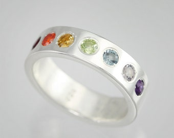 Rainbow Ring in Sterling Silver (Made to Order)