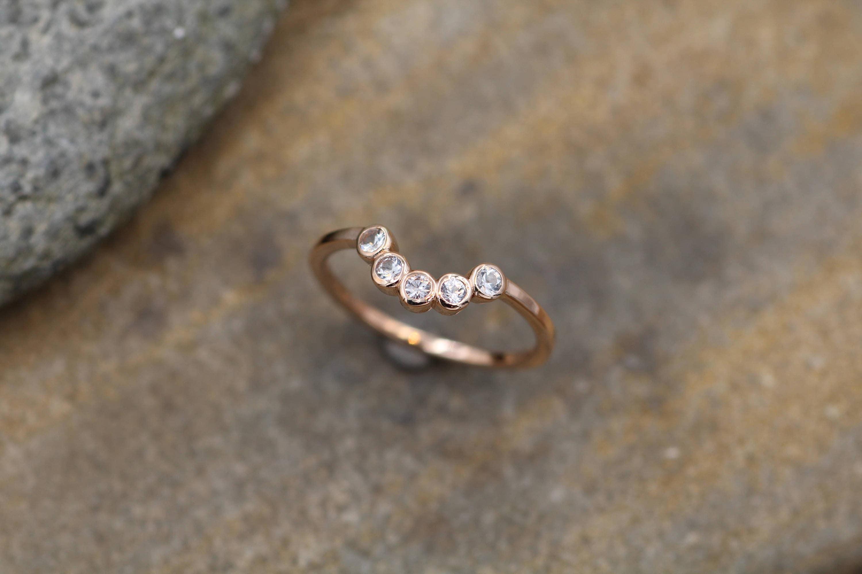 Brand-new White Sapphire Half Moon Rose Gold Ring - Sapphire Bezel Ring  VR77