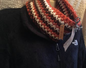 Crochet Orange, Brown, & White Cowl/Neckwarmer