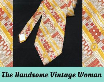 Orange and Yellow Mid Century Funky Neck Tie, Vintage Superba Polyester 1970s, Dacron Polyester