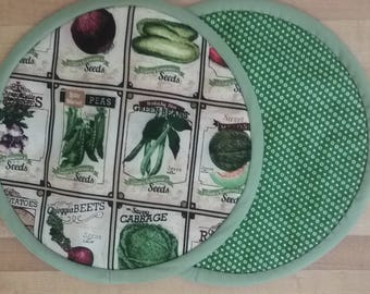 Vegetable Potholders, Pot Holders, Hot Pads, Mats, 8 inch, Round, Green