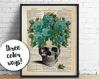 SKULL With ROSES Art Print, Boho Floral Flowers Skull Poster, Sign Language Dictionary Art Print, Dorm Wall Art, Gothic Home Decor Halloween