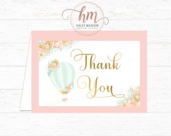 Hot Air Balloon Baby Shower Thank you cards, Birthday Thank you cards, Pink and Gold Floral Hot Air Balloon cards, PRINTABLE FILE HM456