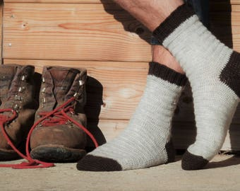 Bûcheron socks - Crochet pattern to make men's socks - PDF, available in 4 widths