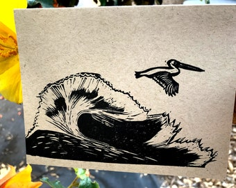 Wave with Flying Pelican