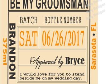 Groomsman Liquor Labels - Custom Wedding Labels - Groomsman Liquor Labels - Bourbon - Whiskey - Best Man Labels - 1 Label