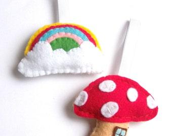 Felt Rainbow & Toadstool House, Fairytale Decor, Rainbow Decorations, Felt Ornaments, Twig Tree Hanging Ornaments