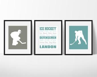 Ice Hockey Gift, Ice Hockey Wall Art, Boys Hockey Bedroom, Boy Sports Decor, Ice Hockey Print, Boy Teen Room