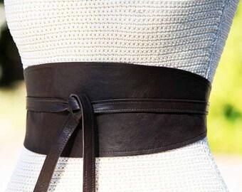 REVERSIBLE Leather Wide belt obi wrap sash corset - Dark Chocolate Brown lambskin - size XS S M L  Xl petite and plus size- cinch wrap belt