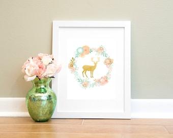 Gold Deer Wreath Printable Wall Art, Flower Wreath Digital Download, 8x10 Printable Wall Art, Instant Download, Room Decor