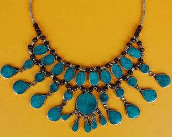 Teal Turquoise Necklace- Cassidy Bib Necklace- Hippie- Afghan Kuchi Necklace- Ethnic Jewelry- Boho Gypsy Necklace