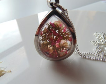 Cherry Blossom Pendant, Teardrop Necklace, Sakura, Blossom Tree Necklace, Gift for Her