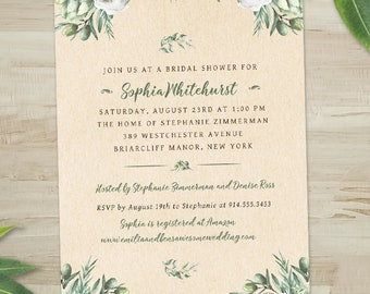 Watercolor Olives and Greenery Kraft Look Bridal Wedding Shower Invitation; Printable, Evite or Printed (US Only) Invitation