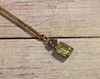 Vintage Jonquil & Light Amethyst Swarovski Crystal Necklace, Light Amethyst Necklace, Jonquil Necklace, Vintage Crystal Jewelry