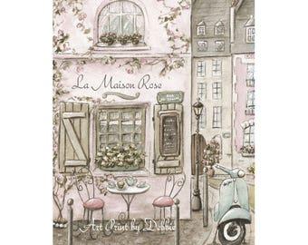Paris Bedroom Decor, Personalized Paris Cafe Watercolor Print, Vintage Paris Decor, Blush Pink Shabby Chic France Travel Theme Nursery Print