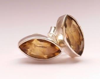 Citrine Beautiful Handmade Women's 925 Sterling Silver Marquise Stud Earrings November Birthstone