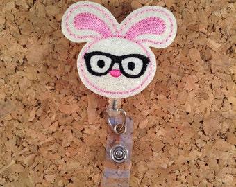 Badge Reel, Bunny Nerd Glitter Vinyl ID Badge Reel, Lanyard, Retractable Name Holder, Nurse, Teachers, Office Workers, GLITTER 961