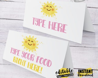 INSTANT DOWNLOAD - EDITABLE You are my Sunshine food card You are my Sunshine buffet label Party decorations You are my Sunshine tent card