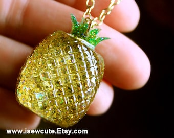 Pineapple Necklace, Summer Jewelry, Gold Glitter Resin Pendant, Tropical Fruit Jewelry, Be a Pineapple Wear a Crown Stand Tall Stay Sweet