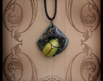 Beetle Jewelry Pendant Polymer Clay Jewelry Scarab Necklace Insect Leaf Jewelry Nature Bug Drop Pendant Nature Jewelry Green Entomology