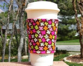 Fabric coffee cozy / cup sleeve / coffee sleeve / cup cozy // chocolate darling ditzy - hand picked Jackie Studio