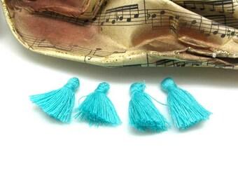 Set of 4 small Textile blue tassels - 2 cm