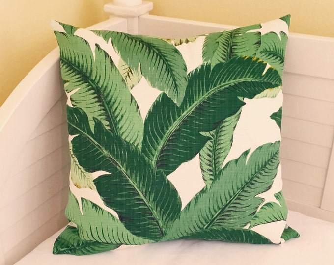Tommy Bahama Swaying Palms in Aloe Green Indoor Outdoor Designer Pillow Cover - Square, Lumbar and Euro Sham Pillow Cover Sizes