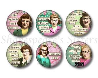 Nerdy Girls - Fridge Magnets - Nerd Magnets - 6 Magnets - 1.5 Inch Magnets - Smart Girls - Funny Magnets